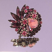 JULIANA Exquisite Vintage Burgundy Floral Brooch