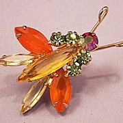 SOLD RARE HARD TO FIND Juliana Bug Insect Rhinestone Brooch Pin