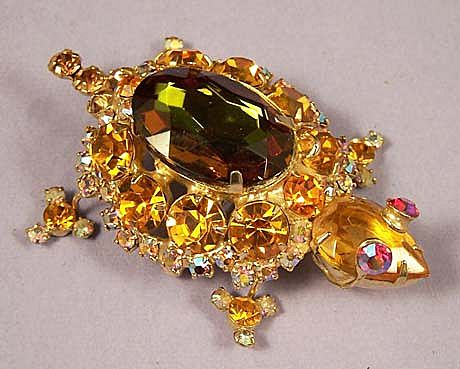 Magnificent Vintage Juliana Amber Golden Crystal Turtle Brooch Pin