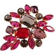Luminescent Vintage Raspberry & Lavender Crystal Brooch Pin