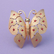JJ Gold Butterfly with Red Rhinestones Vintage Signed