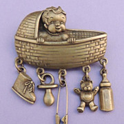 Adorable JJ Vintage Antiqued Gold Baby in Bassinet Chatelaine Charm Brooch