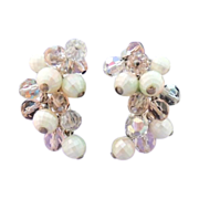 JUDY LEE Vintage Pink Crystal and White AB Bead Earrings Signed