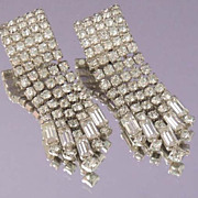 KRAMER Vintage Long Drop Rhinestone Bridal Earrings Signed