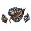 KARU Vintage Blue Rhinestone Leaf Brooch Pin & Earrings Set