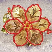 KC Vintage Enamel Poinsettia Christmas Brooch Pin