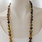 KENNETH LANE KJL Whiskey Lucite Bead Necklace vintage Signed