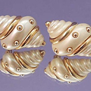 KJL Kenneth Jay Lane Gold and Pearl White Shell Earrings Vintage Signed