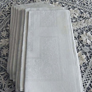 6 Vintage Grape Pattern Irish Damask Linen Dinner Napkins