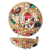 LA ROCO Vintage Multicolor Crystal Jeweled Brooch