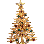 MYLU Wonderful Vintage Rhinestone Christmas Tree Brooch Pin