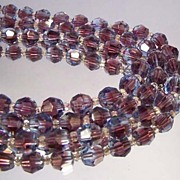 MARVELLA Vintage Burgundy Crystal Bead Necklace - Stunning