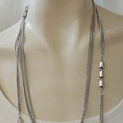 "MONET 54"" Double Chain Silver Vintage Signed Necklace"