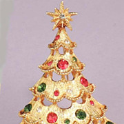 MYLU Christmas Tree Brooch - Vintage Red Green Rhinestones - Signed
