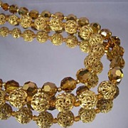 MARVELLA vintage Amber Bead Necklace