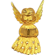 MYLU Vintage Rhinestone Angel Brooch Pin