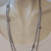 "MONET 54"" Signed Vintage Multi Chain Silver Necklace"