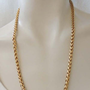 MONET Elegant Vintage Gold Snake Linked Chain Necklace Signed