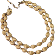 MONET Signed Vintage Double Strand Choker Gold Bead Necklace