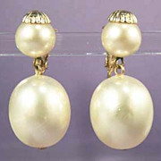 MARVELLA Vintage Pearl Drop Earrings - Bridal Jewelry