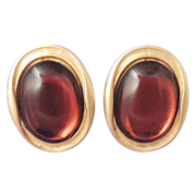 MAXINE DENKER Vintage Modernist Amber Glass Gold Earrings Signed