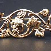 Museum of Fine Arts MFA Vintage Golden Trellis and Grape Brooch Signed