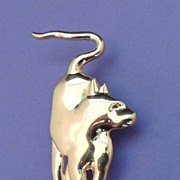 MUSEUM OF FINE ARTS MFA Signed Vintage Egyptian Revival Gold Cat Brooch