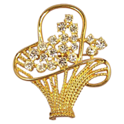 NAPIER Vintage Signed Rhinestone Flower Basket Brooch