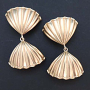 NINA RICCI Vintage Signed Gold Dangle Drop Fan Earrings