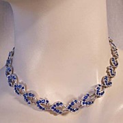 ORA Vintage Deep Blue Rhinestone Necklace
