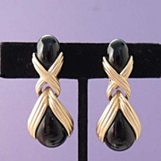 OSCAR de La RENTA Haute Couture Gold and Black Glass Drop Earrings Signed