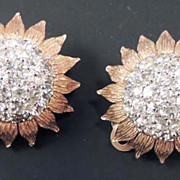 PANETTA Vintage Signed Rhinestone Ornate Sunflower Earrings