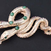 PELL Vintage Gold and Green Jeweled Twined Snakes Brooch Signed