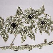 STERLING Marcasite & Onyx Vintage Flower Brooch