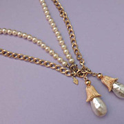 SARAH COVENTRY Vintage Double Chain and Pearl Bead Necklace 8 Different Looks