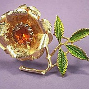 SARAH COVENTRY Open Rose Vintage Rhinestone Floral Brooch Pin