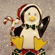Vintage Enamel Penguin Christmas Brooch Pin