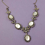 Sterling Marcasite MOP Mother of Pearl Dainty Vintage Necklace