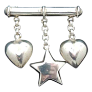 STERLING Puffy Heart and Star Charms Vintage Bar Pin Brooch