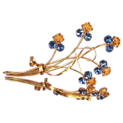 STERLING Art Deco Vermeil Amber & Blue Crystal Flower Brooch