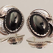 PLATEROFNE Vintage FANNIE PLATERO Sterling Silver and Onyx Navajo Earrings