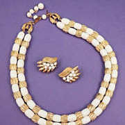 "Crown TRIFARI Vintage Signed ""SAHARA"" White Gold Necklace Earrings Set"
