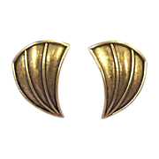 TRIFARI Classic Signed Vintage Antiqued Gold Earrings