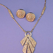 TRIFARI Vintage Signed Gold Pendant Necklace and Button Earrings Set