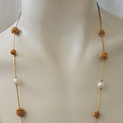 Delicate TRIFARI Necklace Chain with Vintage Pearl and Gold Beads Signed