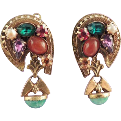 Rhinestone Pearl Earrings in Gorgeous Vintage Jewel Colors