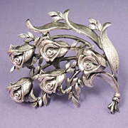 TORTOLANI Vintage Silver Rose Floral Brooch Signed