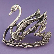 Dimensional TORTOLANI Exquisite Silver Bird Swan Brooch Vintage Signed