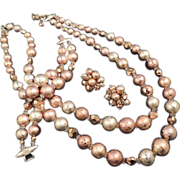 VENDOME  Necklace Earrings Bracelet Full Parure -Vintage Holiday Gold and Copper Bead