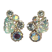 WEISS Vintage Blue Aurora Borealis Leaf Earrings